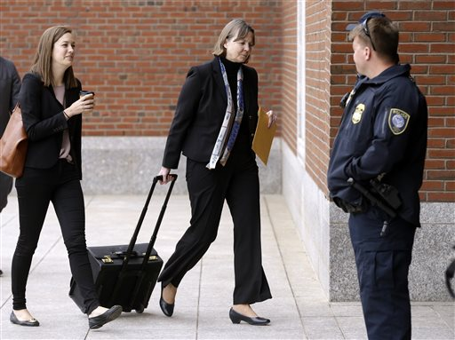 Defense attorney Judy Clarke, center, arrives at federal court in Boston Thursday, April 30, 2015, during the penalty phase in the trial of Dzhokhar Tsarnaev. Tsarnaev was convicted of the Boston Marathon bombings that killed three and injured 260...