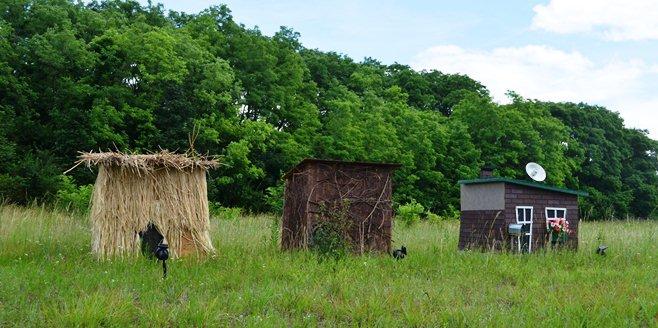 Three little pig houses at Pig crash scene_97950