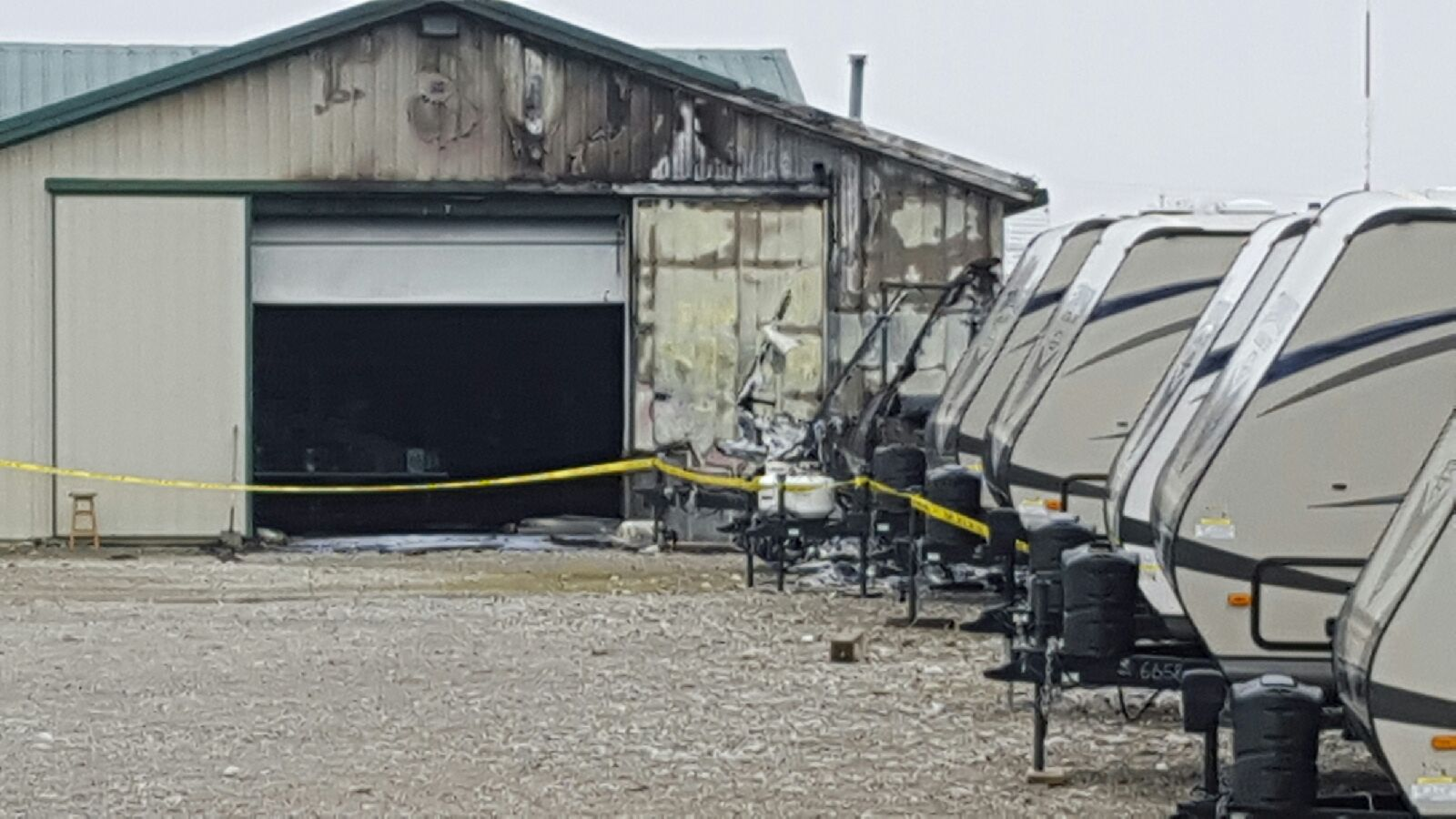 A fire ripped through D&D RV and destroyed five RVs. (WDTN Photo/Ken Jarosik)