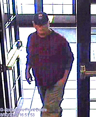 Police are looking for this man they say robbed a Springboro bank Thursday. (Photo: Springboro Police Dept.)