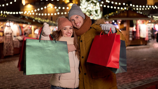 holidays, christmas and people concept - happy couple at with sh_279516