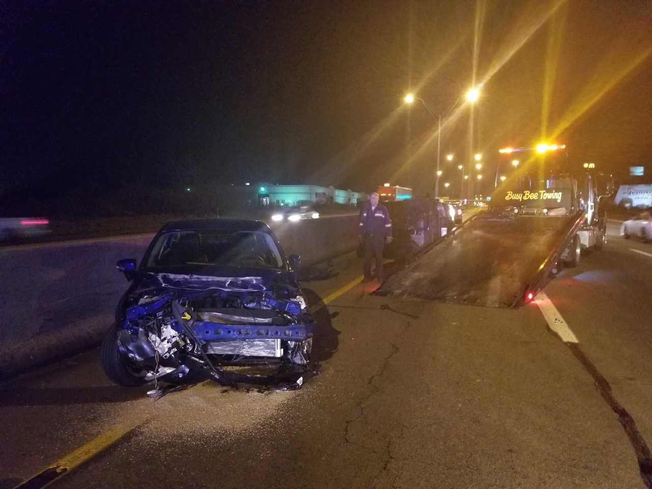 Vehicle causes crash, flees scene on I-75