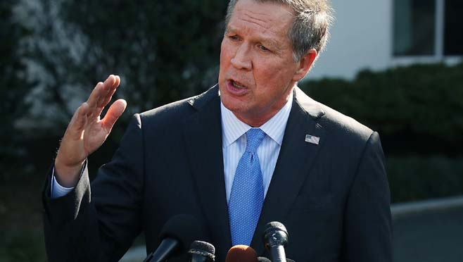 Ohio Governor John Kasich Speaks To Press After Meeting With President Trump At The White House_298322