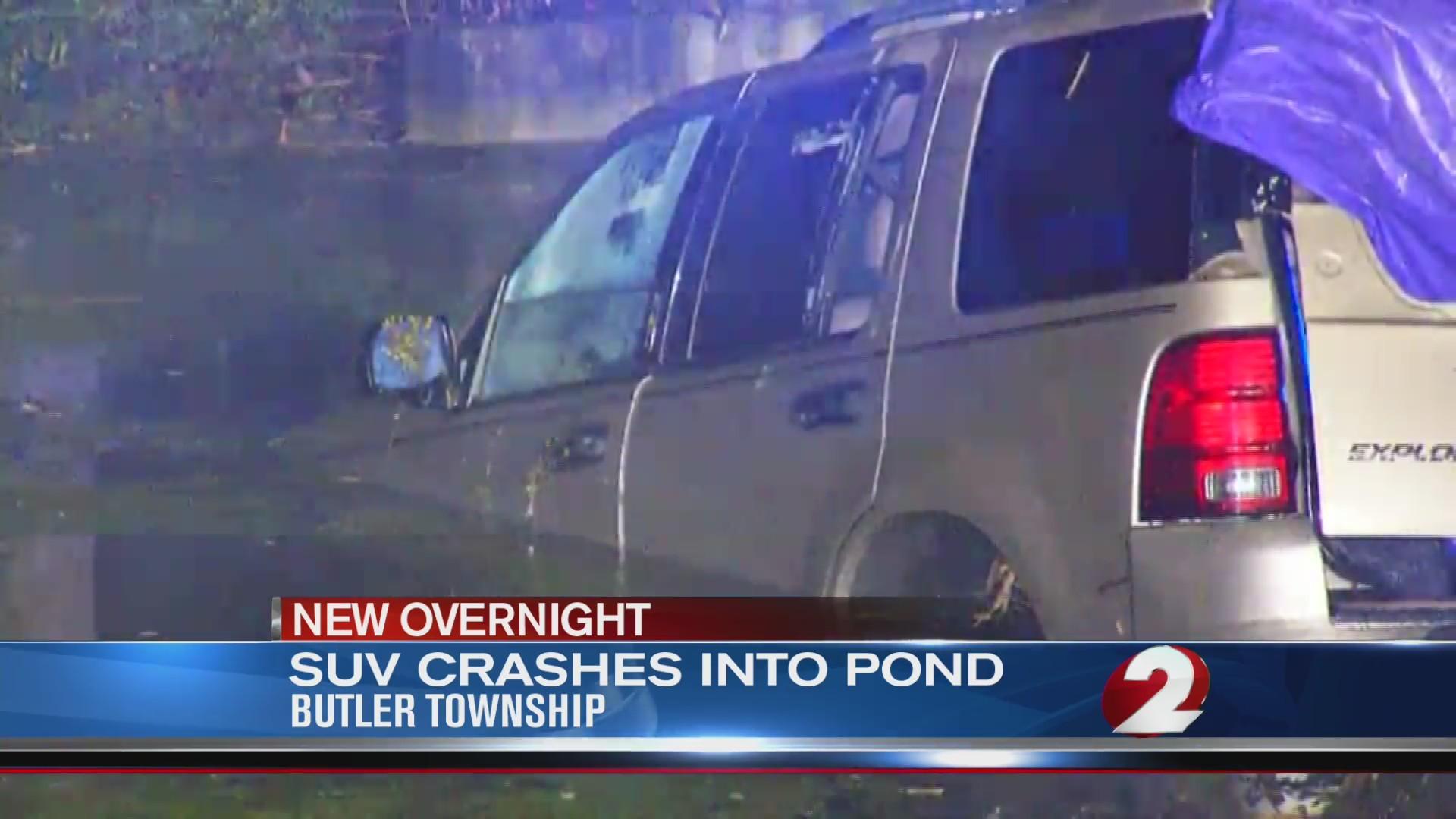 SUV Lands in Pond