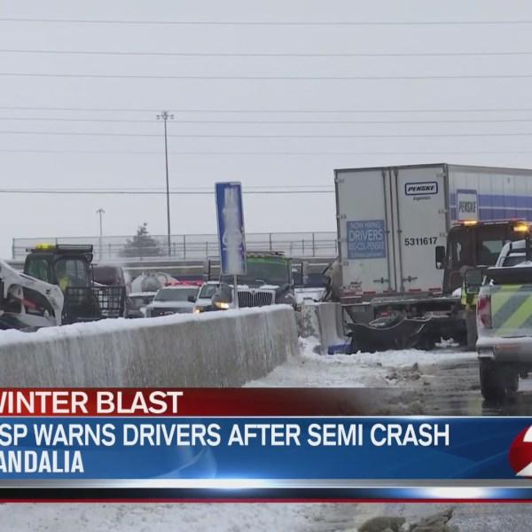 OSP warns drivers after semi crash