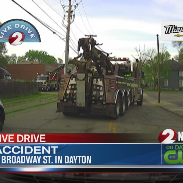 Semi hits wires on Broadway Street