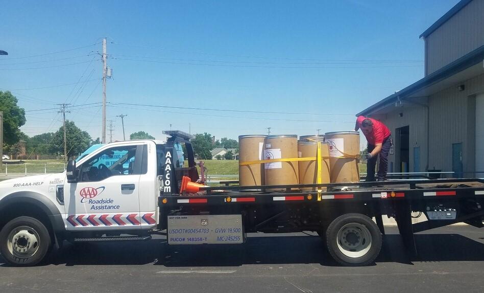 Dayton Foodbank food donation barrels