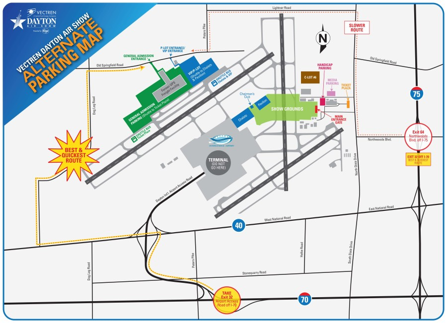 Map detailing parking areas for the Dayton Air Show.