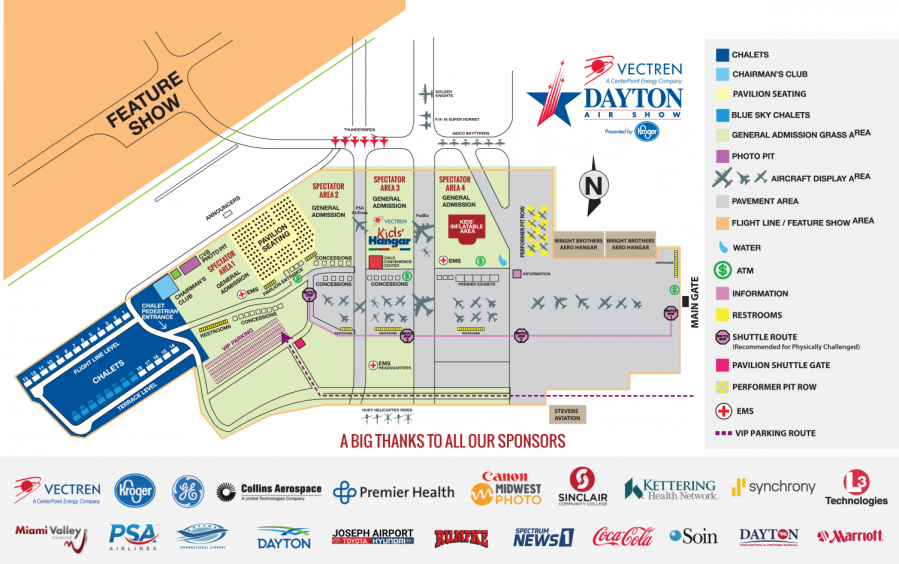 Map of exhibits and features of Dayton Air Show.