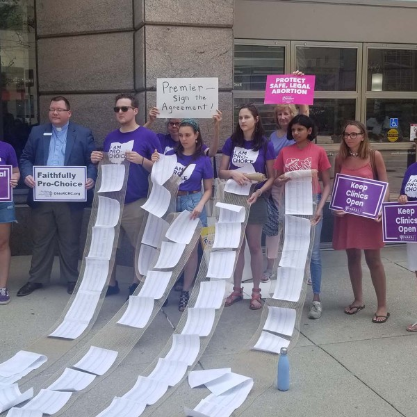 Pro-choice residents protest at Premier Health