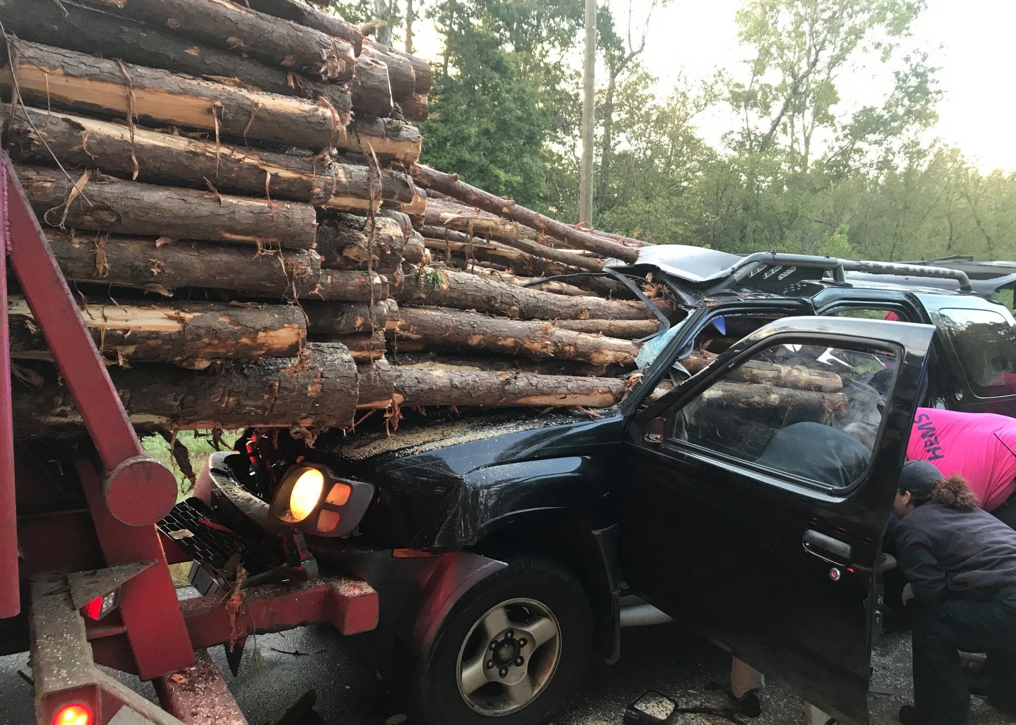 Logs through a car