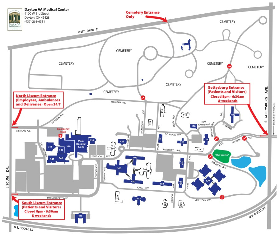 DaytonVA campus map_covid-19