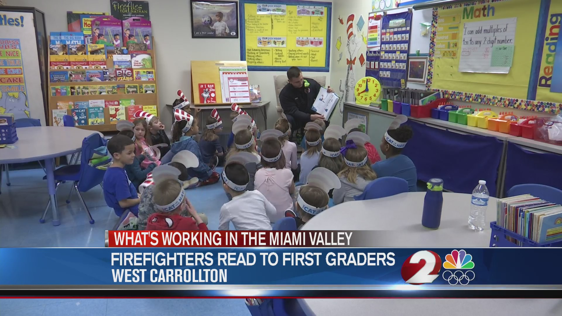 Firefighters read to first graders