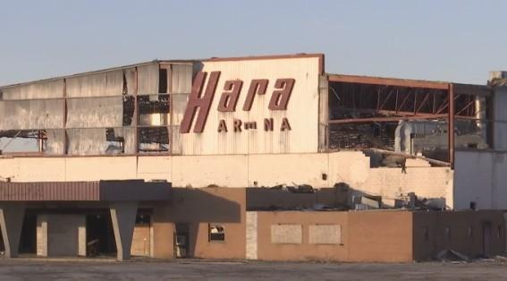 Hara Arena in 2019 after tornado