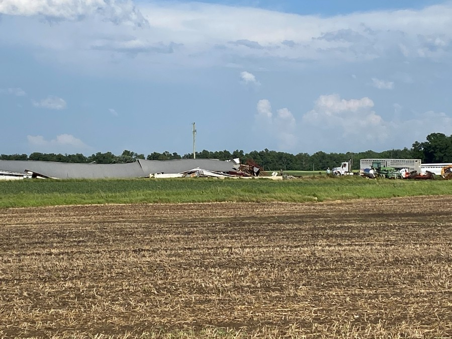 Barn damage in Shelby County