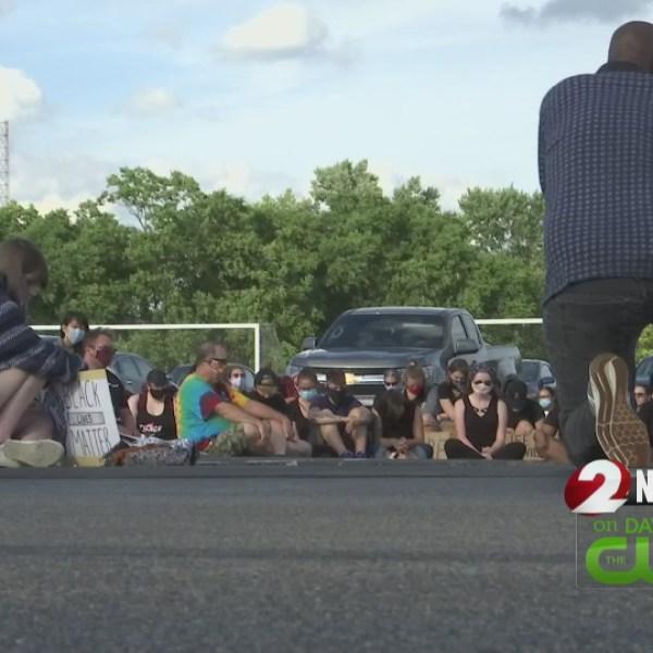 Riverside protest