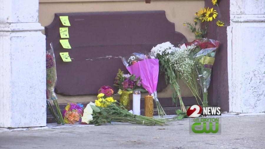 Flowers at Oregon District memorial
