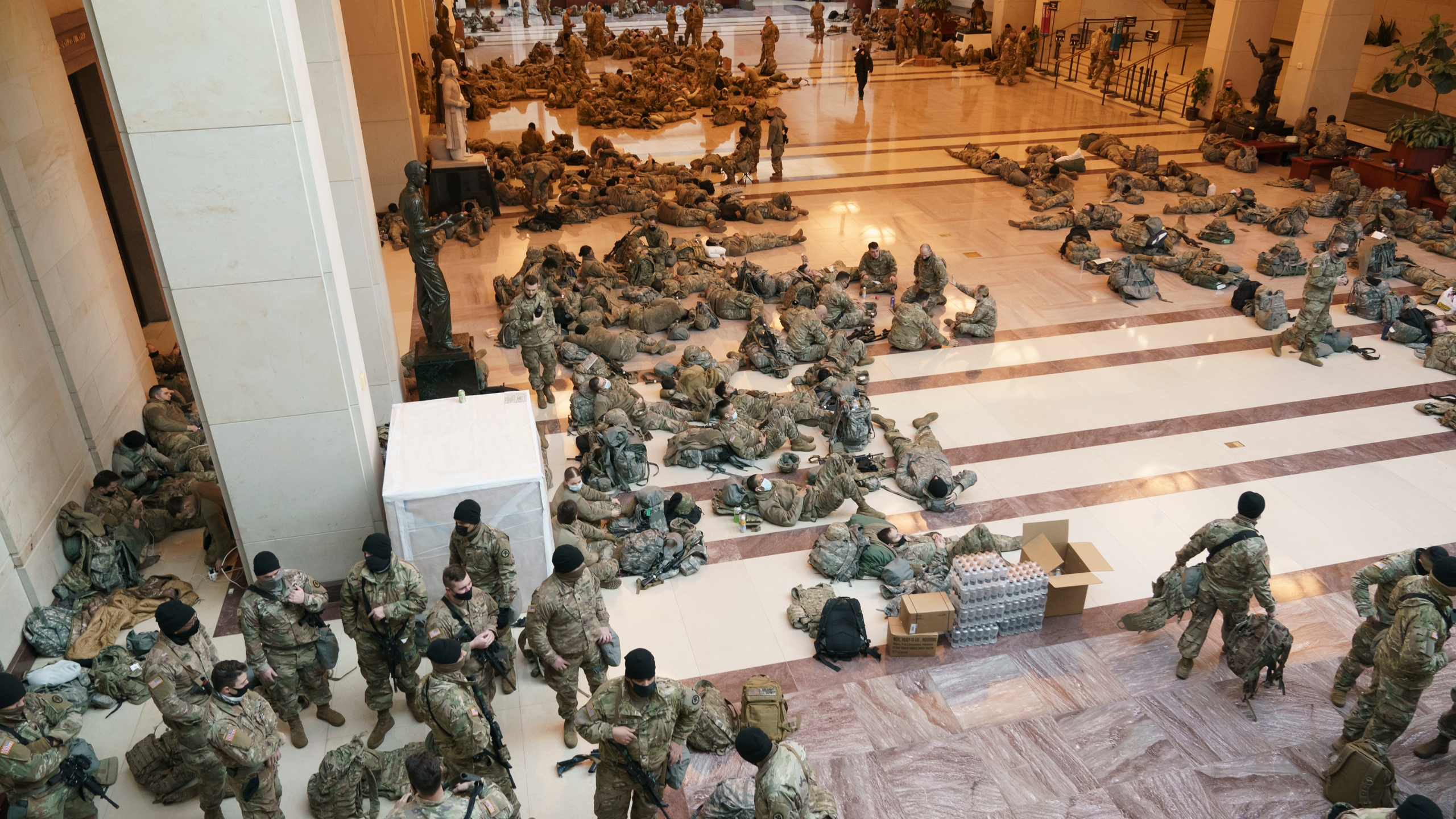 National Guard troops photographed sleeping on marble floors of Capitol  ahead of impeachment vote | WDTN.com
