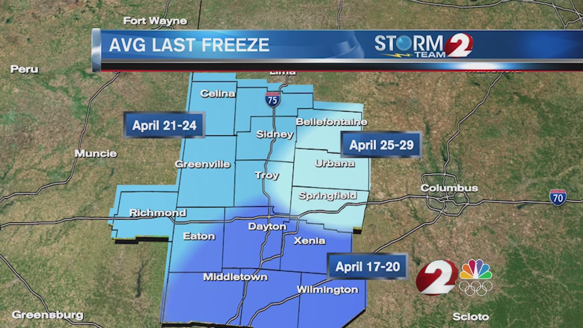Take a look at the avg last freeze dates in the Miami Valley