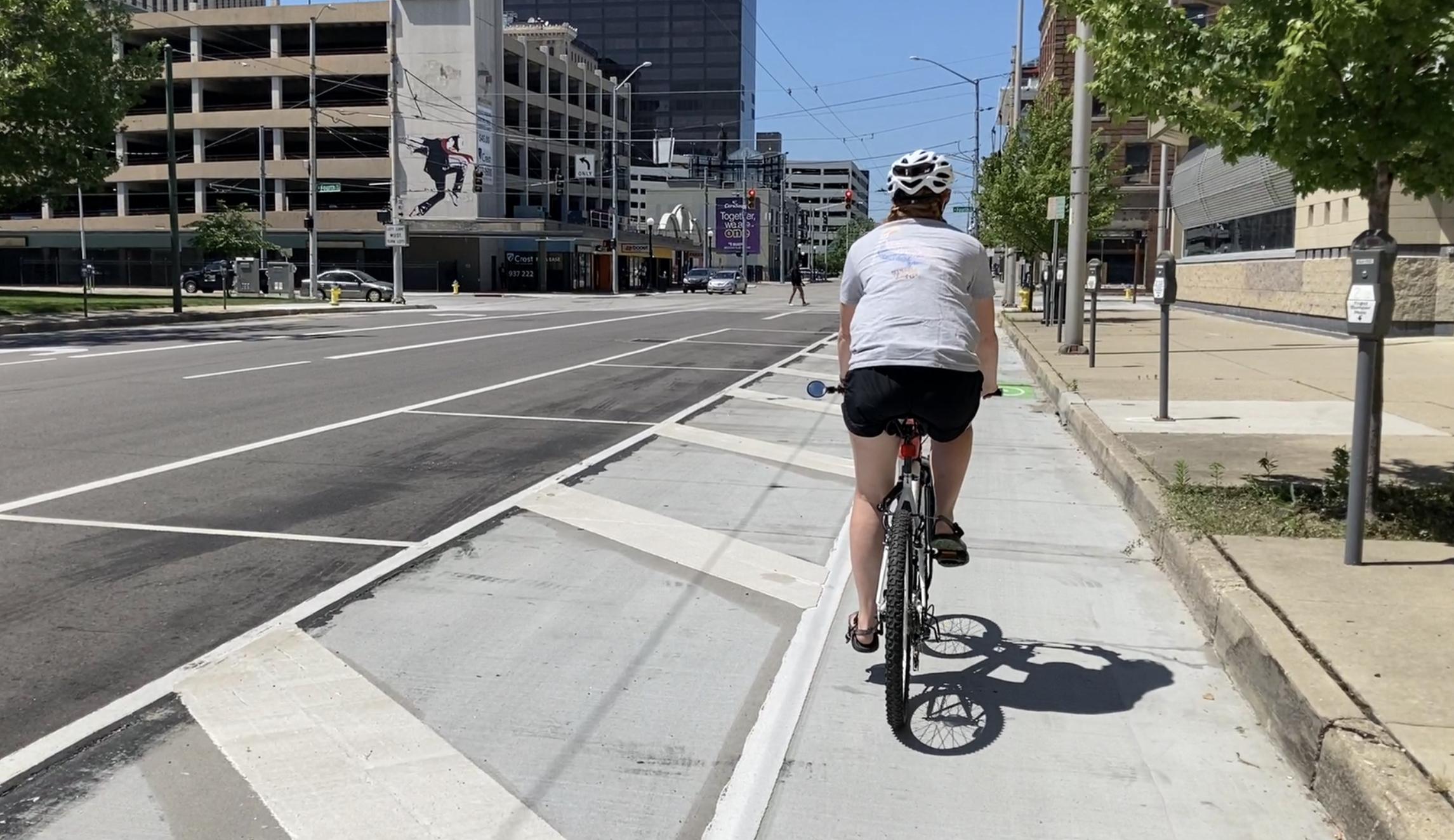 bike riding in downtown Dayton