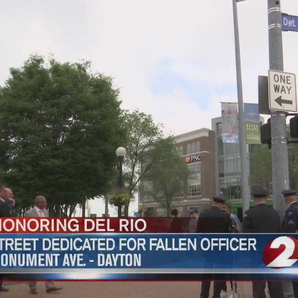 "Blue Street sign named ""Detective Jorge Del Rio Way"""