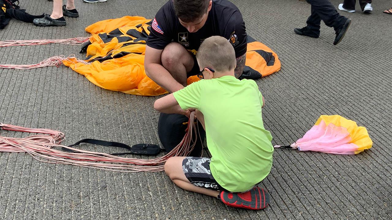 Dayton Air Show parachute setup